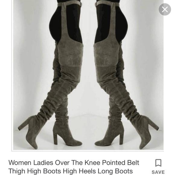 ed2929c1c78 Belt Thigh High Boots (Rihanna Style)